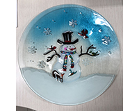 Snowman & Birds Glass Serving Platter-XM-1195