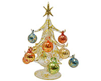 Oro Multicolored 20 cm Glass Tree with12+1 Ornaments - GB-XM-2000
