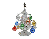 Argento Lucido 20cm Glass Tree with12+1 Ornaments GB-XM-2005