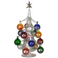 Argento Lucido 30cm Glass Tree with16+1 Ornaments GB-XM-2007