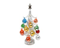 Argento Lucido Luminosa 25cm Glass Tree with16+1 Ornaments GB-XM-2016L