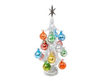 Argento Lucido Luminosa 30cm Glass Tree with 16+1 Ornaments GB-XM-2017L