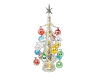 Argento Lucido Luminosa 40cm Glass Tree with18+1 Ornaments GB-XM-2018L