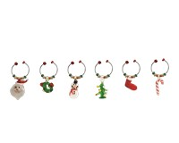 Wine Charms- Christmas - S/6-XM-423