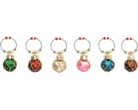 Wine Charms - Round Ornaments - S/6-XM-578
