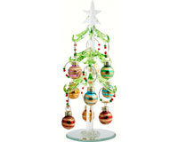 Tree - Green Leaf - with 9 Wine Markers - Stripes - 7.5 Inch - PVC XM-702