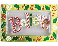 Christmas Platter - Believe - 14x9 Inches-XM-929
