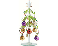 Tree - Green - 7.5 Inch - with 9 Pearl Ornament Wine Charms - PVC XM-960