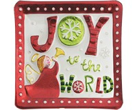 Christmas Platter - Joy to World - 11 Inch Square-XM-969