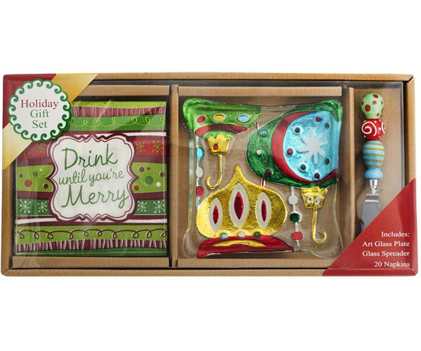Hostess Set - Ornament Plate + Napkins + Spreader XM-985'