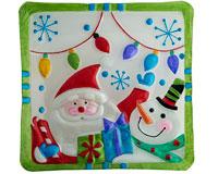 Christmas Platter - Happy Santa & Snowman - 11 Inch Square XM-989