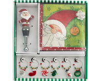 Hostess Set - Santa - Napkins + 4 Wine Charms + BS XM-992