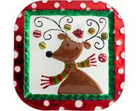 Christmas Platter - Reindeer 11 Inch - Square - TBD XM-999