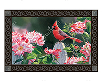 Cardinal with Variegated Roses MatMate-MAIL11634