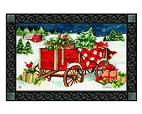 Christmas Farm Wagon MatMate-MAIL11956