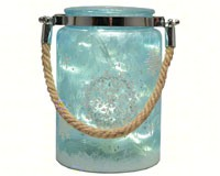 Glass Canister Blue Snowflake withLED String Lights MFAB2387HT