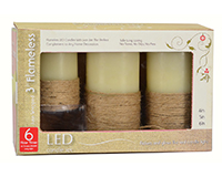 Flameless Candle Pillar Jute Wrapped 3 pc Set withTimer-MFB456JWT