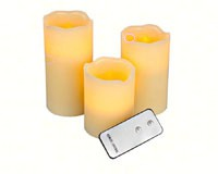 Flameless Candle Pillar Vanilla 3 pc Set withRemote-MFB456RC