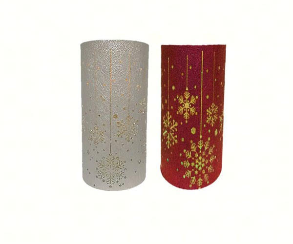 Red/Silver Snowflake Canvas Wrapped LED Pillar MFB6LWSFA