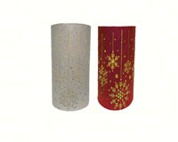 Red/Silver Snowflake Canvas Wrapped LED Pillar MFB6LWSFA