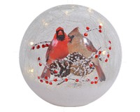 New Crackle Glass Globe Cardinal Pair 7 inch-MFCGG7C
