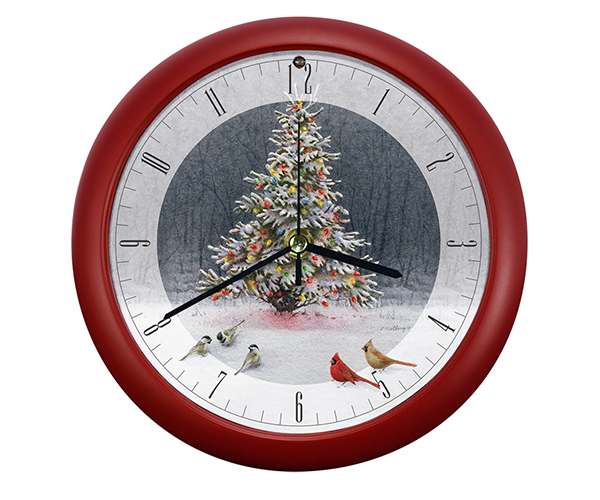 Christmas Tree Bird Gathering Clock