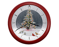 Christmas Tree Bird Gathering Clock-MFCLK8CTWW