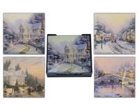 Thomas Kinkade Winter Scenes Glass Coaster Set of 4 MFCTK4