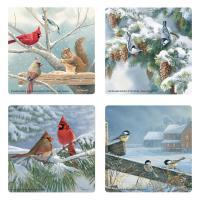 Winter Birds Glass Coaster Set of 4-MFCWWWB4