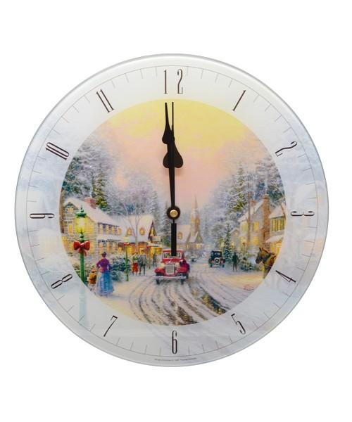 Thomas Kinkade Village Christmas 12 inch Glass Clock