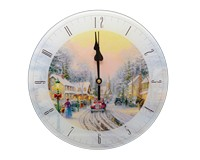 Thomas Kinkade Village Christmas 12 inch Glass Clock-MFGCTKVC12