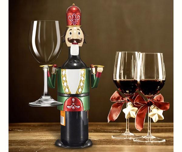 Nutcracker Wine Bottle & Glass Holder MFHGWBHNC'