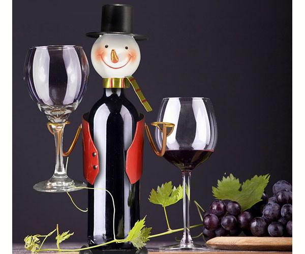 Snowman Wine Bottle & Glass Holder MFHGWBHSM'