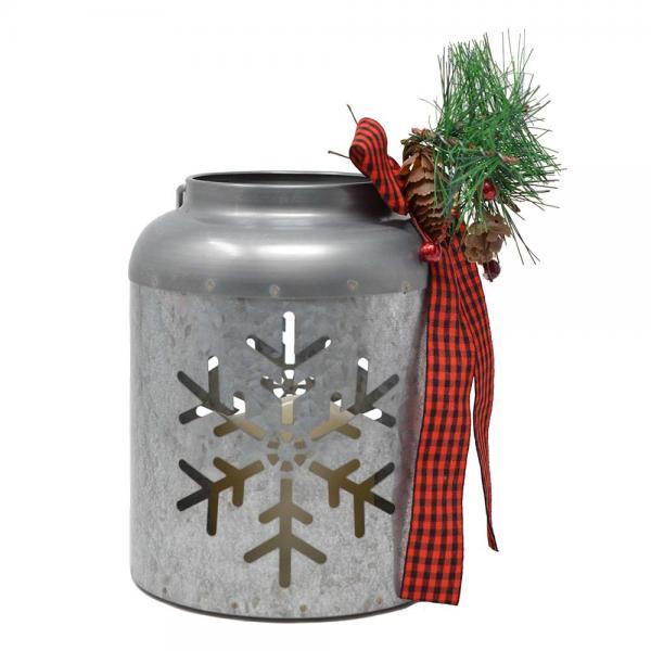 Galvanized 7 inch Snowflake Lantern