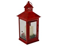 Holiday Berry and Pine Ring Red 13.5 LED Lantern-MFLNT135HBRT