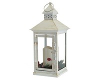 Holiday Berry and Pine White 13.5 LED Lantern-MFLNT135HBW