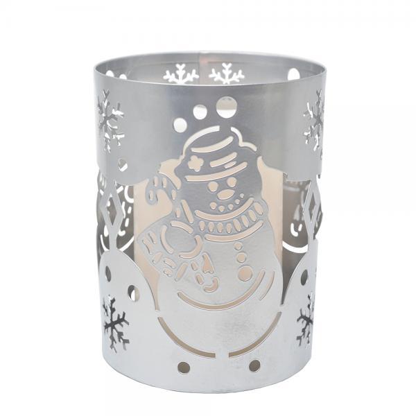 LED Snowman Metal Lantern