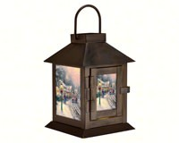Thomas Kinkade Village Christmas Lantern-MFLNTKVCB