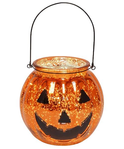 Mercury Glass Jack O Lantern with LED String Lights
