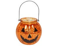 Mercury Glass Jack O Lantern with LED String Lights-MFMGJOL7