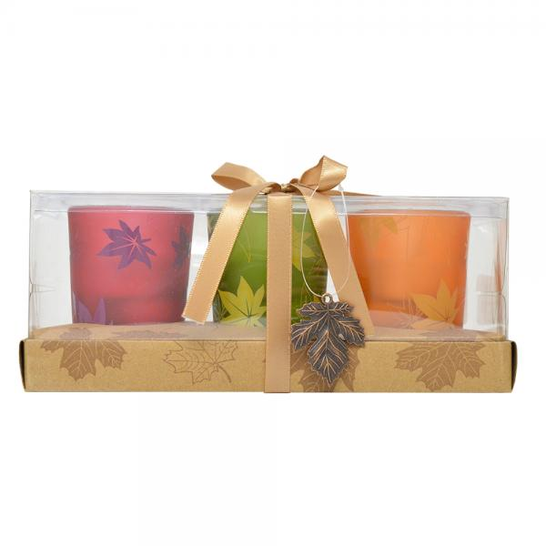 3 pc Fall Votives withLeaf Charm