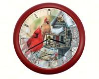 Rustic Cardinals 8 inch Sound Clock-MFWW8RCARD