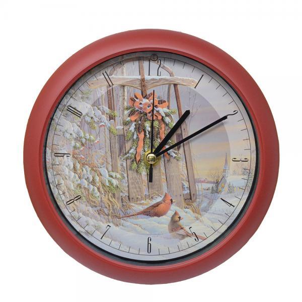 Wintertime Sleigh Cardinals 8 inch Sound Clock