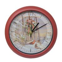 Wintertime Sleigh Cardinals 8 inch Sound Clock-MFXS8WWST
