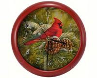 December Dawn Cardinal 8 inch Sound Clock MFXWW8CD