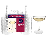 2 pc 4 oz Champagne Glasses Clear 20 ct-NWECHAMP42020