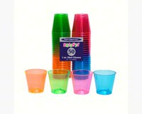 1 oz Shot Glasses. Assorted Neon 50 ct-NWEN15090