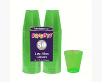 2 oz Shot Glasses Neon Green 50 ct-NWEN25075
