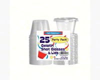 2.5 oz Shot Glasses & Lids. Clear 25 ct-NWEN2525