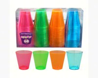 2 oz Shot Glasses. Assorted Neon 60 ct boxes-NWEN26090